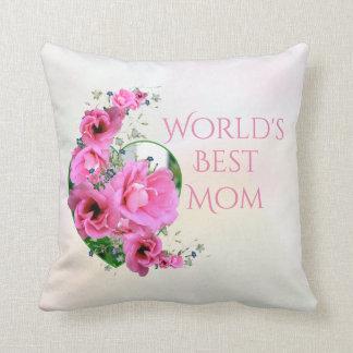World's Best Mom Pink Flower Heart Throw Pillow