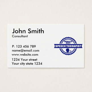 World's best speech therapist business card
