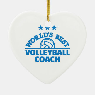 World's best volleyball coach ceramic heart ornament