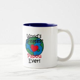 World's Greatest Papou Heart Two-Tone Coffee Mug
