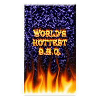 World s hottest BBQ fire and flames blue marble Business Card Templates
