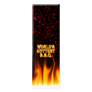 World s hottest BBQ fire and flames red marble Business Cards