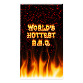 World s hottest BBQ fire and flames red marble Business Card