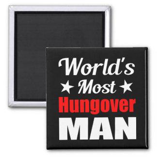 World s Most Hungover Man Fridge Magnet Black