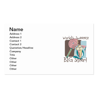 World s Sweetest Big Sister Business Card