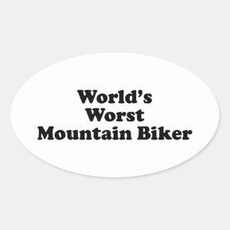 World s worst Mountain biker Oval Stickers