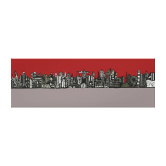 World Skyline 03 Stretched Canvas Print