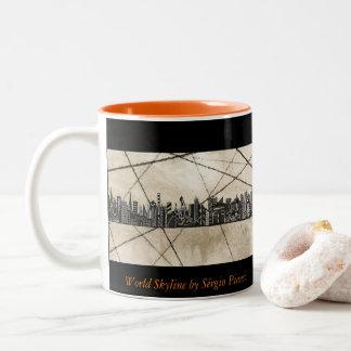 World Skyline Two-Tone Coffee Mug