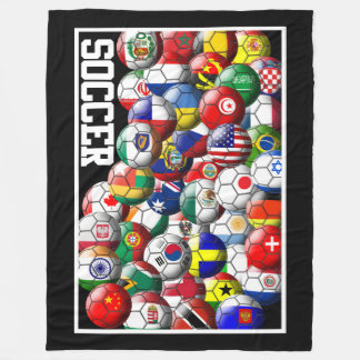World Soccer Balls Fleece Blanket