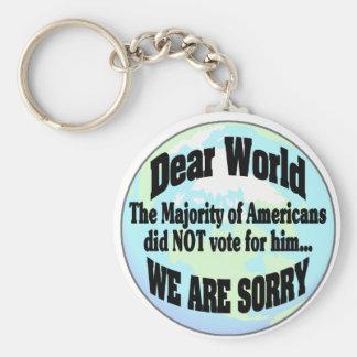 world sorry2 basic round button keychain