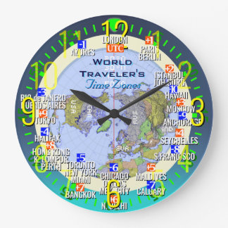 World Time Zones Large Clock