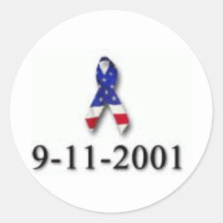 WORLD TRADE CENTER 9-11 DESIGN ROUND STICKER