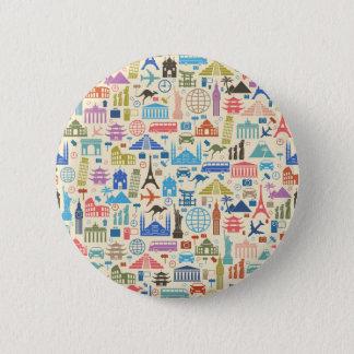 world travel 2 inch round button