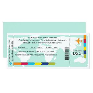 World Travel Boarding Pass Wedding Ticket Card