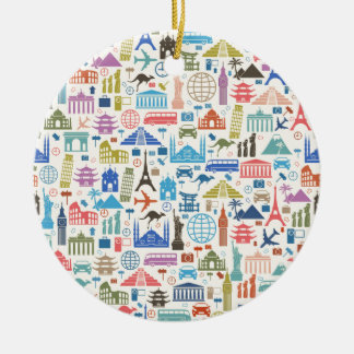 world travel ceramic ornament