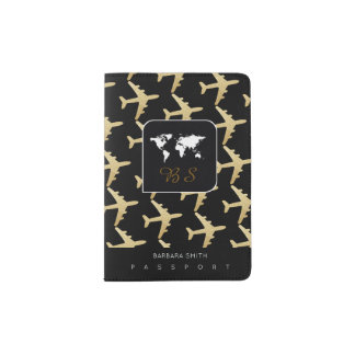 world travel passport cover with name & airplanes