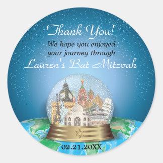 World Travel Snow Globe Bar Bat Mitzvah Classic Round Sticker