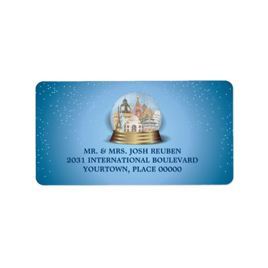World Travel Snow Globe Return Address