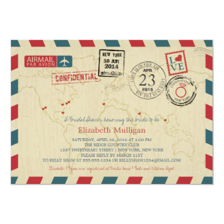 World Traveler Airmail | New York Bridal Shower Card