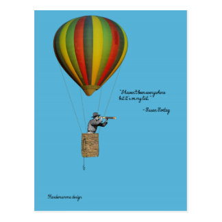 World traveler card with hot air balloon postcard