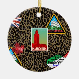world traveler ceramic ornament