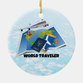World Traveler Ceramic Ornament