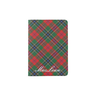 World Traveler Clan MacLean Red Green Tartan Plaid Passport Holder