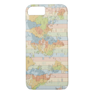 World Traveler Colorful Map of Time Zones iPhone 8/7 Case