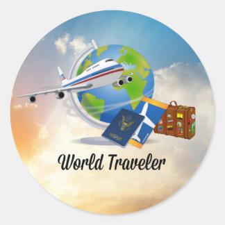 World Traveler, Design 2 Classic Round Sticker