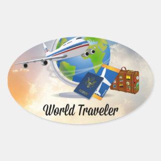 World Traveler, Design 2 Oval Sticker