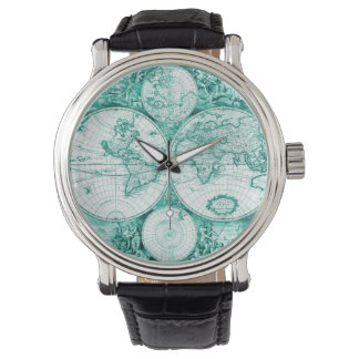 World Traveler Green Globes Mens Watch