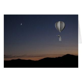 World traveler. Hot air balloon, sunset and moon Card