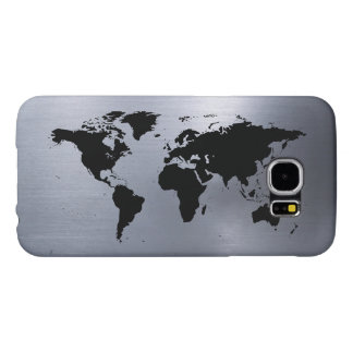 World Traveler Map on Brushed Metal Samsung Galaxy S6 Cases