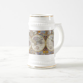 World Traveler Vintage Map Beer Stein