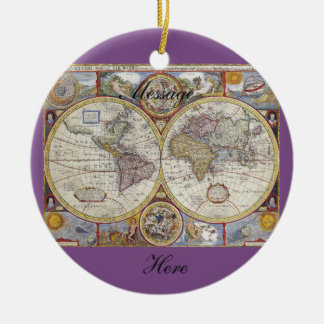 World Traveler Vintage Map Thunder_Cove Ceramic Ornament
