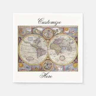 World Traveler Vintage Map Thunder_Cove Napkin
