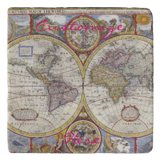 World Traveler Vintage Map Thunder_Cove Trivet