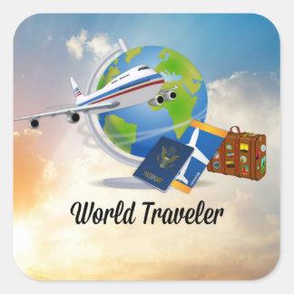 World Traveller, Design 2 Square Sticker