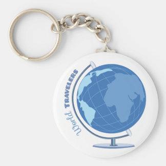 World Travellers Basic Round Button Keychain