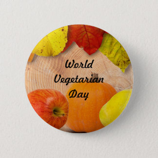 World vegetarian day-button 2 inch round button