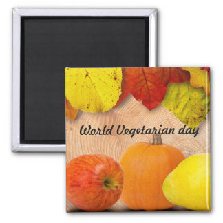 World vegetarian day square magnet