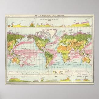 World vegetation & ocean currents Map Print