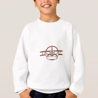 World War 1 Pilot Airman Spad Biplane Circle Retro Sweatshirt