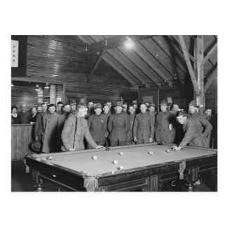 World War 1 YMCA Pool Hall, 1910s Postcard