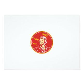 World War 2 Pilot Airman Fighter Plane Circle Retr Card