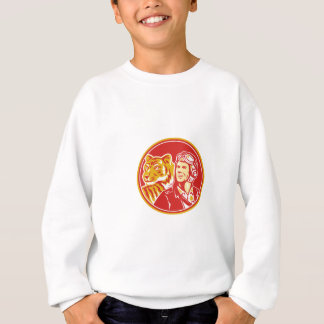 World War 2 Pilot Airman Tiger Circle Retro Sweatshirt