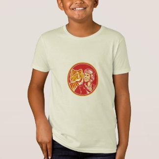 World War 2 Pilot Airman Tiger Circle Retro T-Shirt