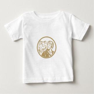 World War 2 Pilot Airman Tiger Gold Circle Retro Baby T-Shirt