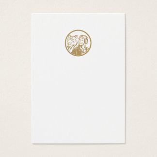 World War 2 Pilot Airman Tiger Gold Circle Retro Business Card