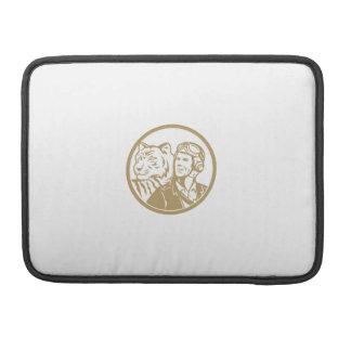 World War 2 Pilot Airman Tiger Gold Circle Retro Sleeve For MacBooks